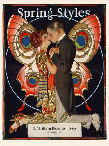 Posterlounge Leinwandbild 70 x 90 cm: Frühjahrsmode 1924 von Joseph Christian Leyendecker - fertiges Wandbild, Bild auf Keilrahmen, Fertigbild auf echter Leinwand, Leinwanddruck