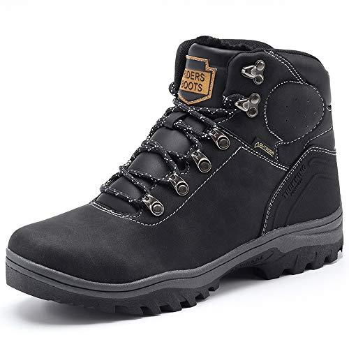YIRUIYA Men's Snow Boots Outdoor Waterproof Sneaker Winter Warm Shoes(Black Size 8)