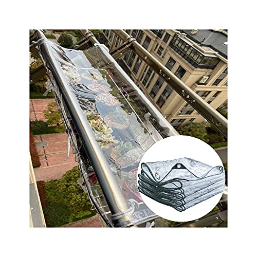 FSYGZJ Schwere Plane wasserdicht,transparente PVC-Trennwand mit Ösen,für regendichten Sonnenschutz warm halten (400gsm),20 Größen (Farbe:Klar,Größe:1x1m)