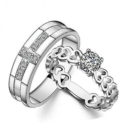 Personalized 925 wholesale Sterling Silver Cross Couple Round Very popular Weddi Zircon