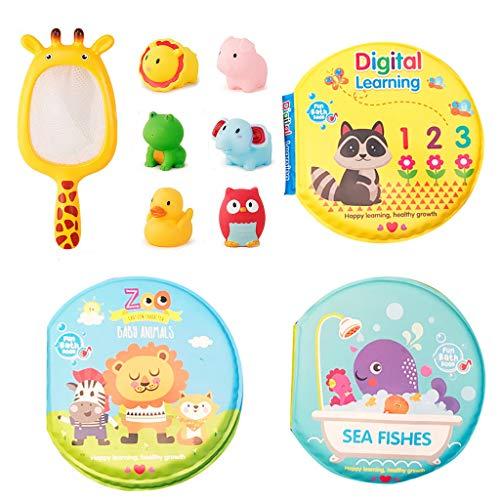 3 Libros de baño + 1 Juego de Juguetes acuáticos,Juguetes de baño Squirt Soft Libros Impermeables para Bebe para Aprendizaje Juguete de Sonido
