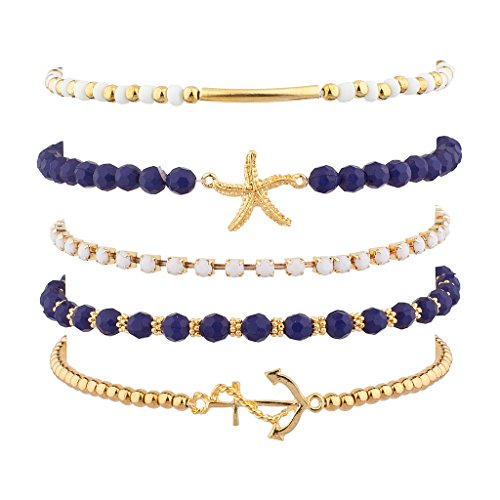 Lux Accessories Navy Nautical Starfish Anchor Arm Candy Set (5pc)