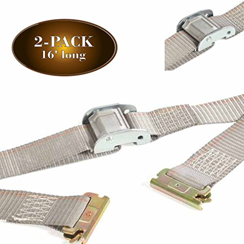 """2 E Track 2"""" x 16' Cargo Tie-Down Cam Straps, Durable Cam Buckle Strap Cargo TieDowns, Heavy Duty Polyester & E-Track Spring Fittings, Secure Motorcycles, Pickup, Truck, Trailer Loads"""