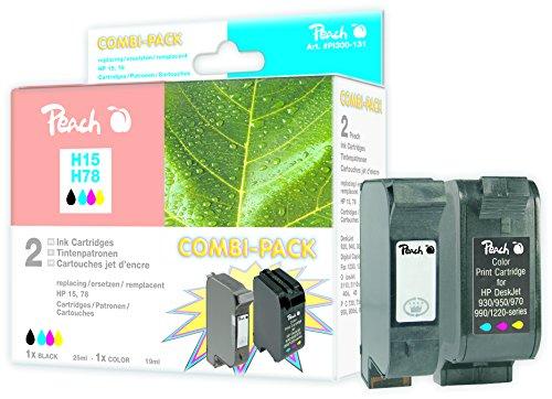Paquete Combinado de Peach Compatible con HP C6615D, No. 15, C6578D, No. 78