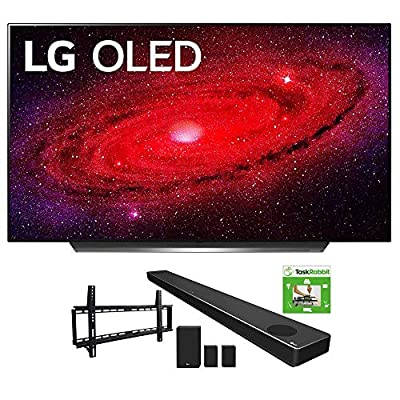 LG OLED55CXPUA 55-inch CX 4K Smart OLED TV with AI ThinQ (2020) Bundle SN11RG 7.1.4 ch High Res Audio Sound Bar + TaskRabbit Installation Services + Vivitar Low Profile Flat TV Wall Mount by LG