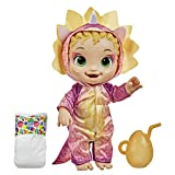 Baby Alive Dino Cuties Doll, Triceratops, Doll Accessories, Drinks, Wets, Triceratops Dinosaur Toy for Kids Ages 3 Years and Up, Blonde Hair