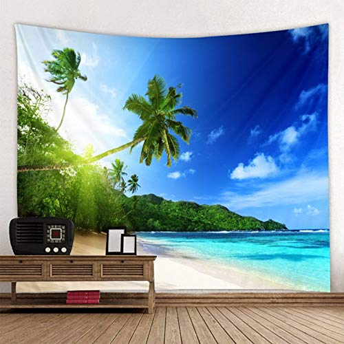 WERT Sunny Green Tree Beach Tapiz de Pared Colgante de Pared Tapiz Bohemio Mandala Pared Art Deco Fondo Tela A5 130x150cm