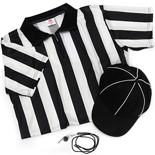 Women's Referee Necessities Bundle - Black & White Striped Referee Jersey, Umpire Hat, and Stainless-Steel Ref Whistle with Lanyard - Women's Amateur Sports Uniform Football Costume Apparel (X-Small)