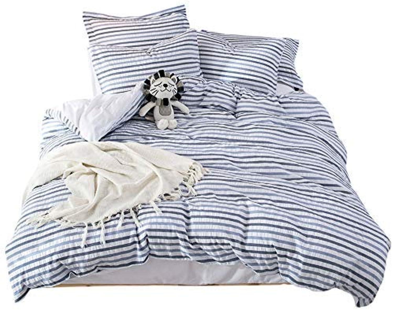 Lausonhouse 100% Cotton Woven Seersucker Stripe Duvet Cover - King - Multi