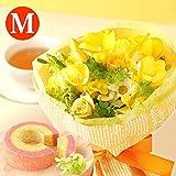 おまかせ 季節の花束アレンジメント 花とスイーツセット 誕生日 プレゼント お祝い フリージア (Mサイズ)