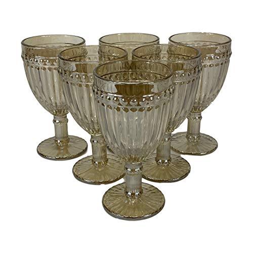 Homevibes Juego de 6 Copas De Vino con Relieve, Capacidad 330ml, Medida 8x16.5, Diseño Retro, Cristaleria De Calidad (Cristal Beige)