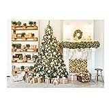 Basage Fondo para fotografía de árbol de Navidad de 1,8 x 1,2 m, fondo de chimenea de ladrillo