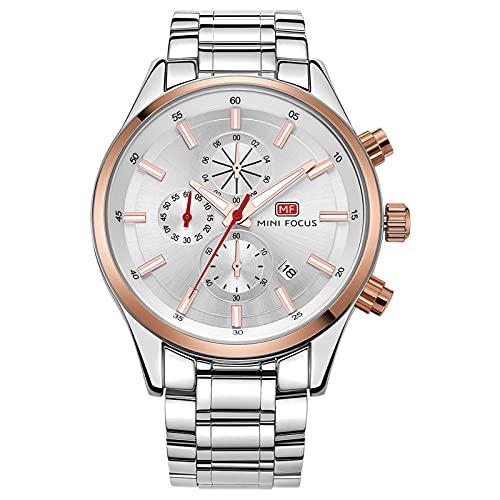 JTTM Reloj Analógico De Cuarzo para Hombre Manos Luminosas Multifunción 30M Impermeable Calendario Cronógrafo Acero Inoxidable Relojes para Hombre,Rose White