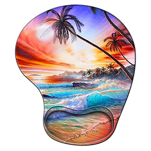 Gaming Mouse Pad with Wrist Support,Glorious Ergonomic Mousepad, Cute Computer Laptop Mouse Pads as Home Office Decor Accessories or Ideal Blue Beach Sun Palm