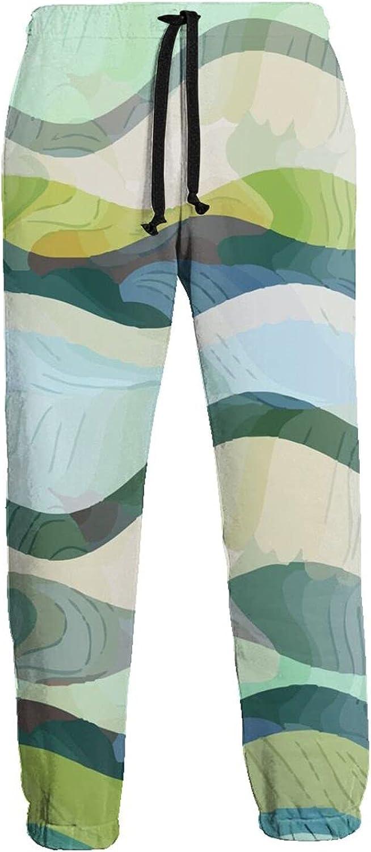 Mens Elastic Waist Sweatpants Wavy Shapes Joggers Sweatpants for Gym Training Sport Pants