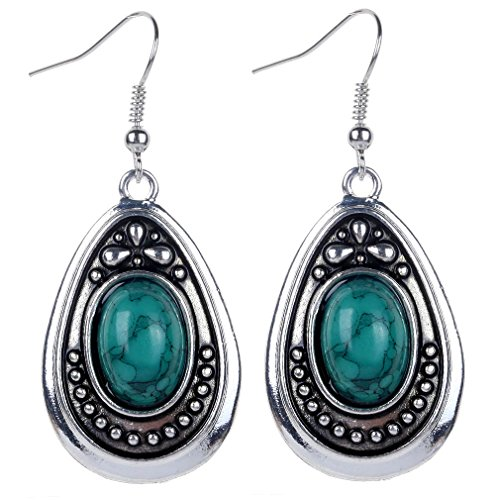 Yazilind Vintage Tibetan Silver Green Oval Turquoise Dangle Drop Hook Earrings Women Gift