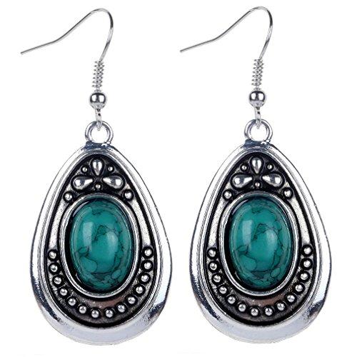 Yazilind vendimia de color plata oval verde turquesa cuelgan los pendientes del gancho de la gota mujeres de regalo