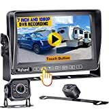 RV Backup 2 Cameras, 7 Inch Touch Button Monitor Built in DVR Rear View Camera with Infrared Night Vision for RV Truck Trailer Camping with Adapter Compatible with Furrion Pre-Wired RV Rohent N05