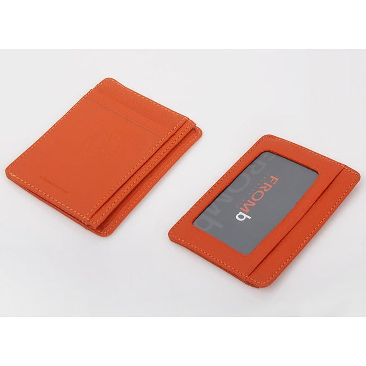やけど正確な逸脱Useful 本革カードケース パスケース 男女兼用 (オレンジ)
