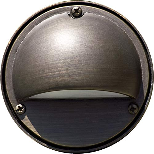 DABMAR LIGHTING LV605-BZ Cast Aluminum Surface Mount Hooded Brick/Step/Wall/Deck Light, Bronze