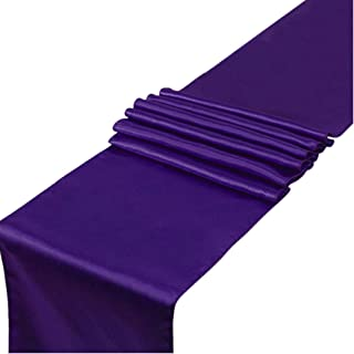 CoFashion Satin Table Runners 108 Inch for Weddings/Showers/Birthday Party/Entry Table/Banquet Wedding Decorations Indoor Outdoor-10 Pack Silky Elegant Purple Table Runner for Wedding Reception