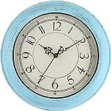 Lisedeer Reloj de Pared de Estilo Vintage, Redondo, 30,5 cm, silencioso, sin tictac, Gran Esfera Negra con números arábigos, fácil de Leer, decoración para salón, Cocina, Dormitorio, Oficina (Azul)