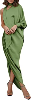 Minetom Damen Festlich Hochzeit Kleider Eine Schulter Elegant Lang Abendkleid Einfarbig Langarm Split Cocktailkleid Partykleid