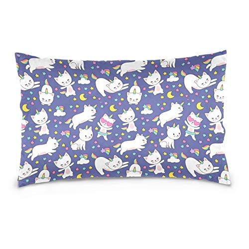 FULUHUAPIN Funda de almohada de forro polar de algodón, diseño de unicornio con cremallera, tamaño estándar, suave y acogedor, para niños y niñas, 50,8 x 76,2 cm 2030445