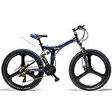LANKELEISI K660 Bicicleta Plegable de 26 Pulgadas, Bicicleta de montaña de 21 velocidades, Freno de Disco Delantero y...