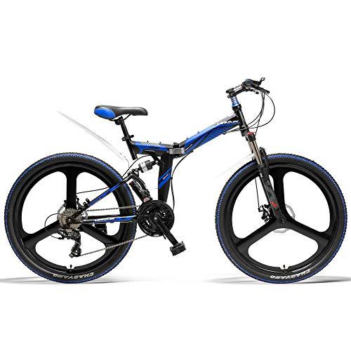 LANKELEISI K660 Bicicleta Plegable de 26 Pulgadas, Bicicleta de montaña de 21 velocidades, Freno de Disco Delantero y Trasero, Rueda integrada, suspensión Completa