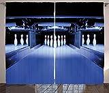 ABAKUHAUS Fiesta de los Bolos Cortinas, simétrica prendedores, Sala de Estar Dormitorio Cortinas Ventana Set de Dos Paños, 280 x 245 cm, Azul Blanco Rojo