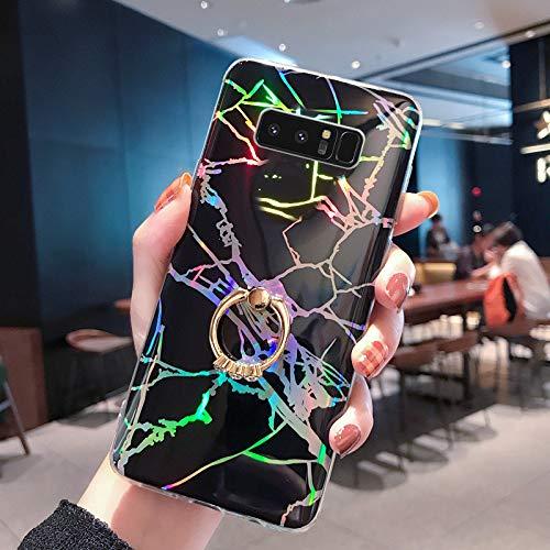 Uposao Kompatibel mit Samsung Galaxy Note 8 Hülle Glitzer Marmor Muster Silikon Handyhülle Schutzhülle Glänzend Bling Ultradünn Weiche TPU Hülle Tasche Bumper mit Ring Halter Ständer,Schwarz