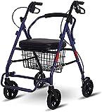 Rollator Walker Movilidad Ayuda para caminar para adultos Ancianos Cuatro ruedas portátiles y plegables, con asiento y reposapiés, compras de comestibles (Color : Purple)