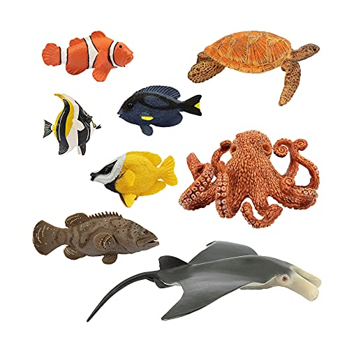 TOYMANY 8PCS Sea Animals Toy Figures for Kids, Plastic Ocean Animal Figurines Sea Creature Toy for Boys Girls Age 3-5 6-12