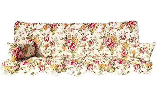 Adlatus-Kühnemuth Polsterauflage Hollywoodschaukel 150x50 Modell 155 Farbe Blumen Bordeaux mit beigem Hintergrund