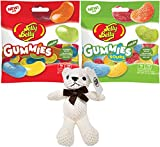 Jelly Belly Gummies Variety, Assorted Gummies and Assorted Sour Gummies, 3.5 Oz Bags (Pack of 2) with By The Cup Teddy