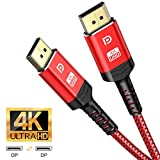 DisplayPort Cable 10ft,Capshi 4K DP Cable Nylon Braided -(4K@60Hz, 2K@144Hz) Gold-Plated DP to DP Cable (NOT HDMI) Ultra High Speed Display Port Cable for Laptop PC TV etc- Gaming Monitor Cable (Red)
