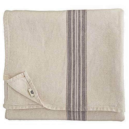 Linen & Cotton - Mantel Muy Elegante de Tela ''Provence-II'', 100% Lino Natural y Lavado a la Piedra (136 x 200cm, Rayas Negras)