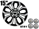 SUMEX 'SPA Performance Wheel Cover, Hub Cap Two Tone Black/Chrome Silver Finish, (Pack of 4)