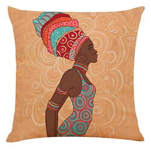 jieGorge Decoración del hogar Funda de cojín Hermosa Mujer Africana Funda de Almohada Fundas de Almohada,...