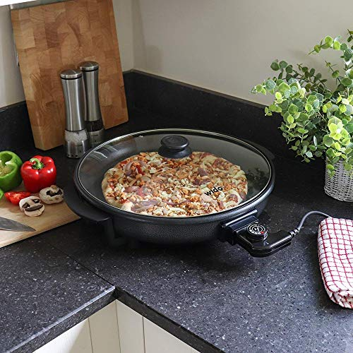Wido 1500 W Multifunktions-Elektrische Pizza-Pfanne mit Deckel Backen Antihaft-Braten Tragbarer Kasserolle Camping UK PLUG