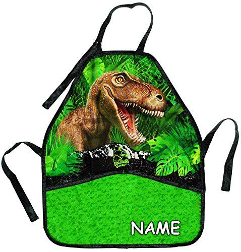 alles-meine.de GmbH Kinderschürze -  Dinosaurier / T-Rex  - incl. Name - größenverstellbar mit 2 Taschen - Schürze / beschichtet & wasserfest - für Jungen - Kinder - Backschürz..