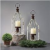Glitzhome Farmhouse Metal Lanterns Decorative Hanging Candle Lanterns Distressed White Set of 2 (Small)