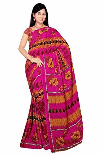 Trendofindia Bollywood Sari Kleid Chiffon Pink Gelb Fo428