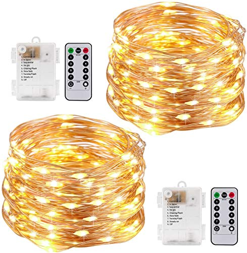 Kohree 2pcs Fairy String Lights with Remote Control Timer Battery Operated 33ft/10m 8 modes Waterproof indoor Flexible Copper Wire Firefly Lights outdoor Decoration Easter Mother's Day Gift Birthday