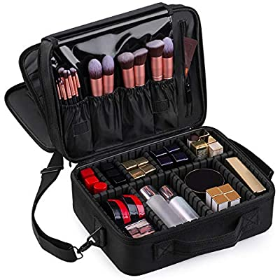 Kootek Travel Makeup Bag 3-Layer Cosmetic Train Case Portable Toiletry Organizer with Mirror Removable Dividers Shoulder Strap for Makeup Tools Brushes Jewelry Digital Accessories, Large