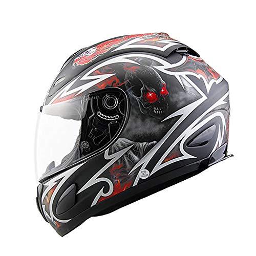 Casco Integral de Motocicleta Casco homologado Dot Moto de Casco Casco con Visera incorporada Gafas de Sol para Adultos jóvenes Hombres Mujeres,XL