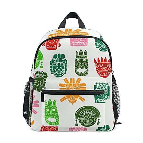 Mochila infantil para niñas y niños, divertida pintura de la cara india, mochila escolar con correa para el pecho y soporte para botellas, mochila para guardería preescolar, ligera