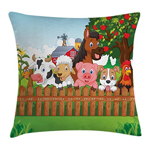 Ambesonne Cartoon Throw Pillow Cushion Cover  Image of Farm Animals by a Fence Funny Dog Cow Rooster Pig Duck Sheep Horse and Apple Tree  Decorative Square Accent Pillow Case  20  X 20   Green Brown
