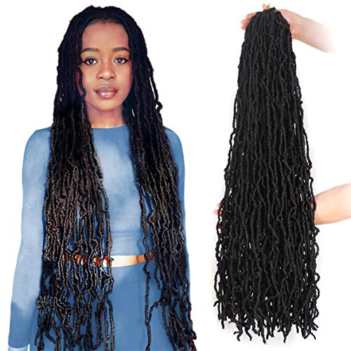 ZRQ 36 Inch New Faux Locs Crochet Hair 5 Packs Pre-looped Goddess Locs Afro Roots Synthetic Dreadlock Extensions Curly Wavy Soft Locs Braiding Hair Extended Locs For Black Women 21 Strands 1B#